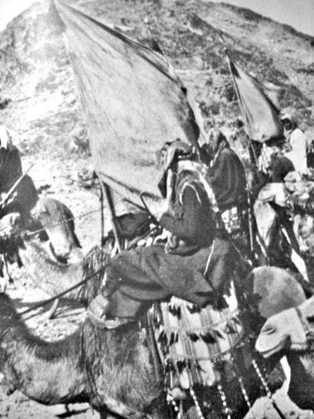 Soldats (« Irregulars ») de l'émir Fayçal sur des dromadaires en 1917