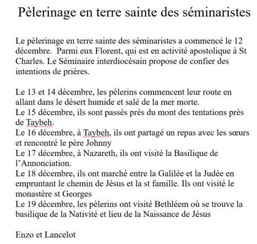 Les séminaristes en Terre Sainte
