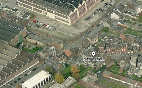 Herstal - vue aérienne du temple de la rue Emile Tilman