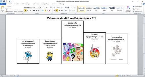 Résultats du défi mathématiques n°3