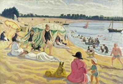 Sur la plage à Benodet 1904