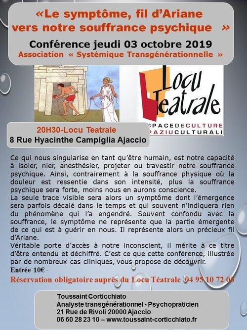 """3 octobre 2019 à 20h30, conférence animé par M.Toussaint Corticchiato """"Les symptômes, fil d'Ariane vers notre souffrance psychique"""""""