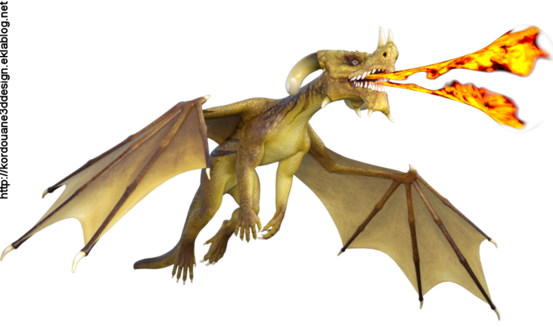 Image de dragon jaune crachant du feu
