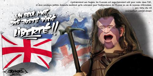 JERC 2016-06-29, caricature Mel Gibson brexit ou comment filer à l'anglaise. www.facebook.com/jercdessin Cliquer sur la photo pour voir en plus grand