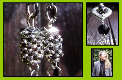 Sautoir réalisé en métal et perles noires par Sylvie LE BRIGANT, Créatrice de bijoux