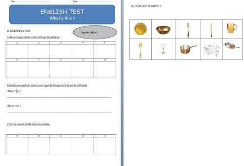Evaluations d'anglais.