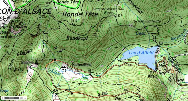 Lac d'Alfeld, Unterer Wasserfall, Boedelen