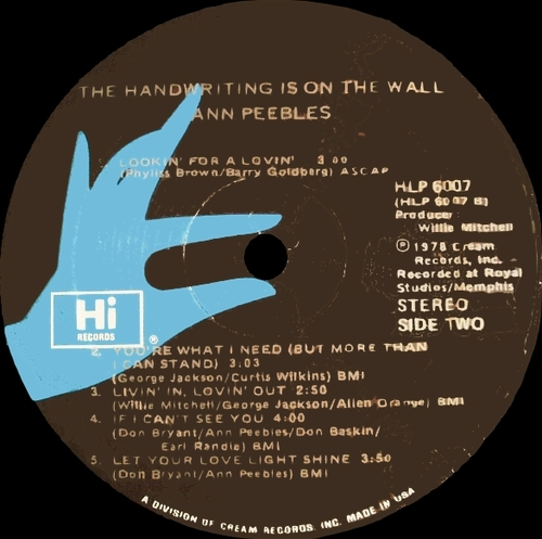 "Ann Peebles : Album "" The Handwriting Is On The Wall "" Hi Records HLP 6007 [US]"