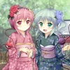 Konachan.com - 120461 2girls flowers green_eyes green_hair japanese_clothes kimono komeiji_koishi ko