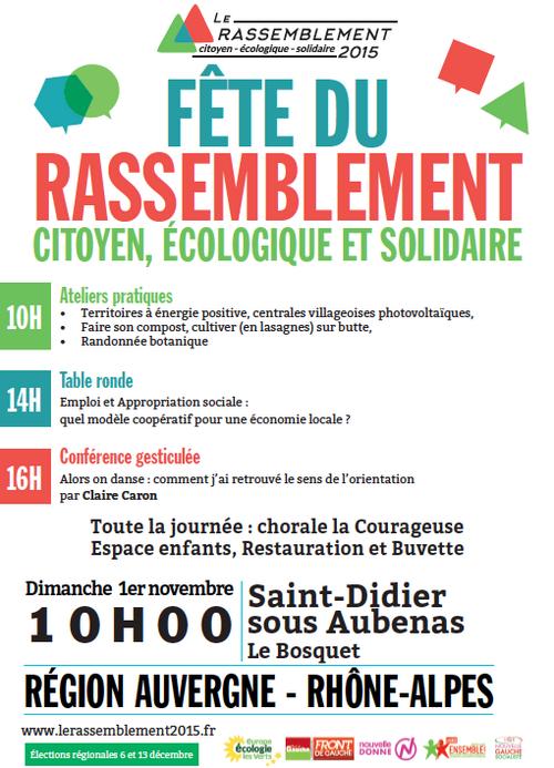 """Fête du """"Rassemblement citoyen, écologique et solidaire"""" le 1er novembre à St-Didier s/s Aubenas"""