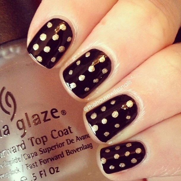 metalic polka dot easy nail art bmodish