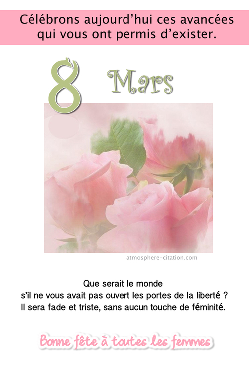 8 mars : fête internationale de la Femme !