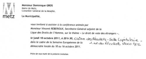 Conférence pour la promotion du droit de vote des étrangers (8 octobre 2011)