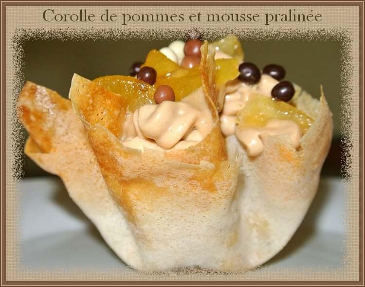 Corolle de pommes et mousse pralinée