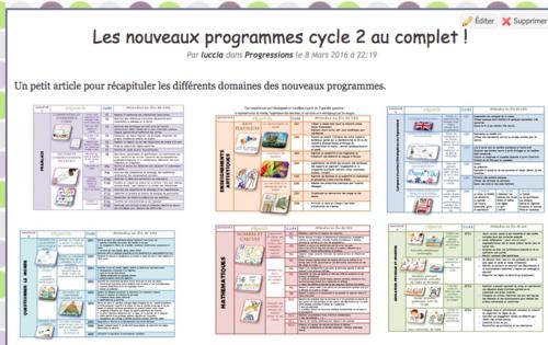 Les volets 1 et 2 des nvx programmes du cycle 2