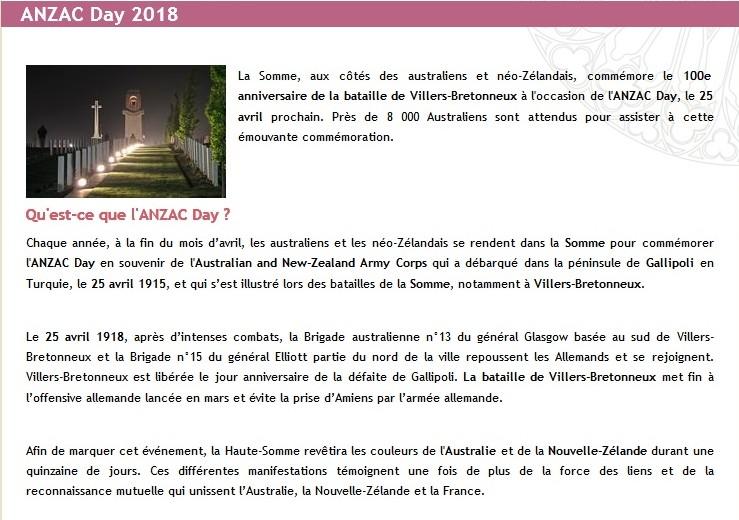Anzac Day à Amiens