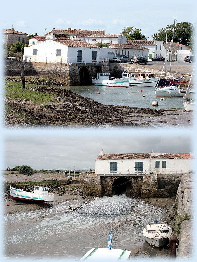 Le moulin à marée de Loix à marée haute et à marée basse - Ile de Ré - 17 posté ledimanche 24 août 2008