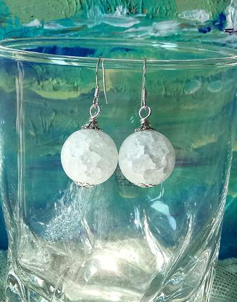 Boucles d'oreilles boules 16mm quartz  craquelé blanc givré sur argent 925