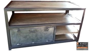 Mobilier Industriel Meuble TV acier et bois O'Range Metalic 2