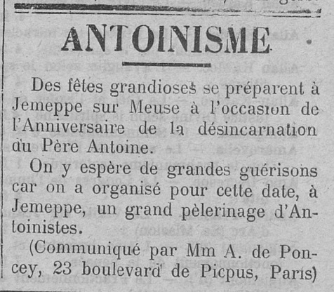 Anniversaire de la désincarnation du Père Antoine (Le Fraterniste, 13 juin 1913)