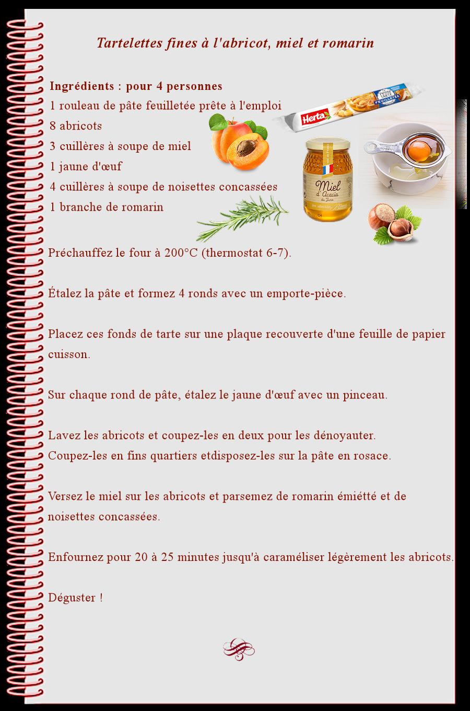 Tartelettes fines à l'abricots, miel et romarin