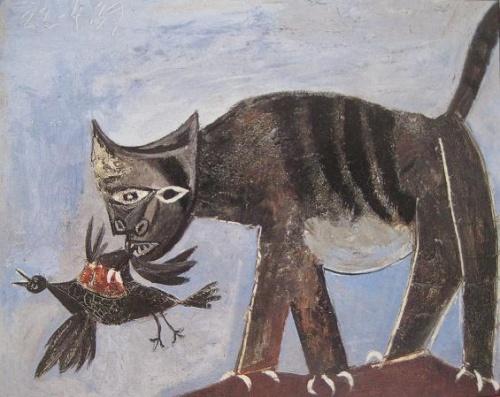 ► Huile sur toile de Pablo Picasso - Chat saisissant un oiseau, 1939