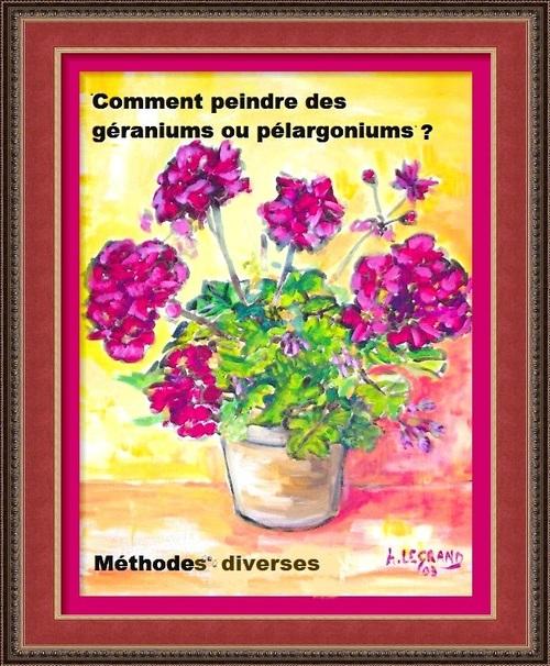 """Dessin et peinture - vidéo 2626 : Comment peindre les géraniums 2 ?  Méthode """"one stroke"""" à l'acrylique ou à l'huile."""