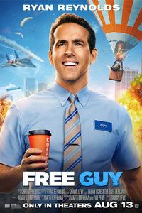 Free Guy : Un employé de banque, découvrant un jour qu'il n'est en fait qu'un personnage d'arrière-plan dans un jeu vidéo en ligne, décide de devenir le héros de sa propre histoire, quitte à la réécrire. Evoluant désormais dans un monde qui ne connaît pas de limites, il va tout mettre en œuvre pour le sauver à sa manière, avant qu'il ne soit trop tard… ..... ----- ..... Origine : États-Unis Réalisation : Shawn Levy Durée : 01h55 Acteur(s) : Ryan Reynolds, Jodie Comer, Lil Rel Howery, Joe Keery, Utkarsh Ambudkar Genre : Comédie, Action, Aventure Date de sortie : 2021