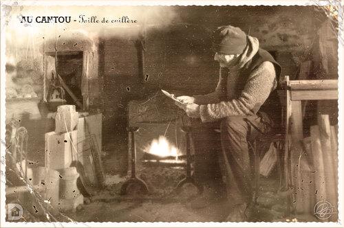 Taille de cuillère en bois au cantou - Style carte postale ancienne