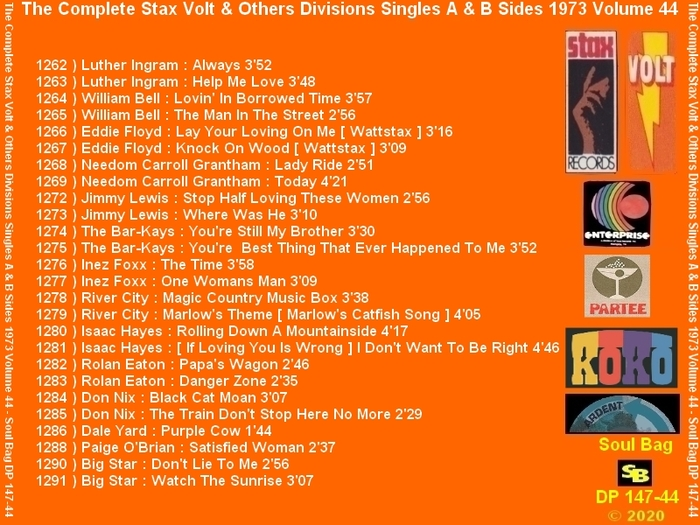 """ The Complete Stax-Volt Singles A & B Sides Vol. 44 Stax & Volt Records & Others Divisions "" SB Records DP 147-44 [ FR ]"