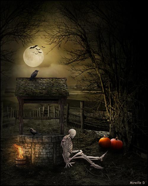 Adossé au Puits - Halloween (Photomontage)