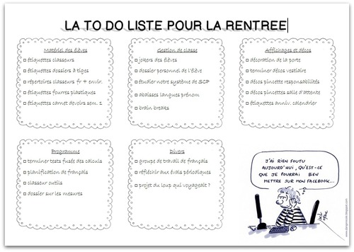 La to do liste des vacances