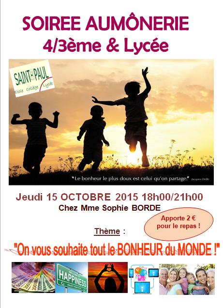 Soirée AUMÔNERIE 4/3ème & Lycée : 15 octobre 2015