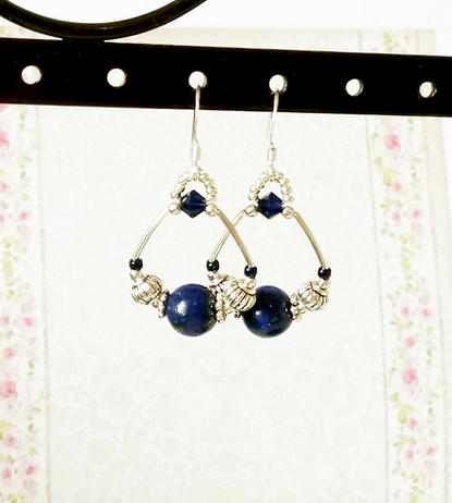 Boucles clips d'oreilles anneaux pierre de Lapis Lazuli sur Argent 925/ Blue Lapis Lazuli rings earrings / Sterling Silver 925