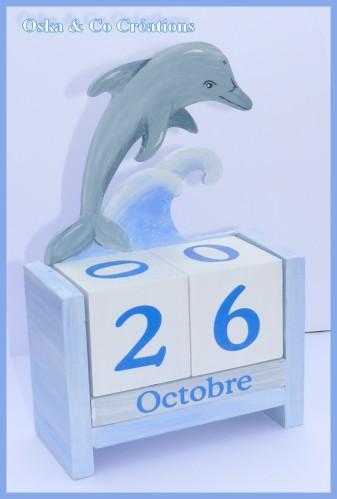 dauphin sur vague Oska & co Créations calendrier perpétu