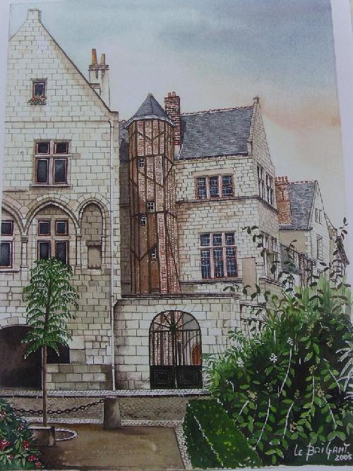 Aquarelle du vieux TOURS réalisée par Michel LE BRIGANT Artiste Peintre en Touraine