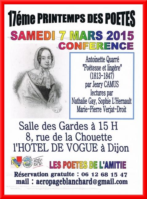 Antoinette Quarré, une conférence de Jenry Camus à Dijon...