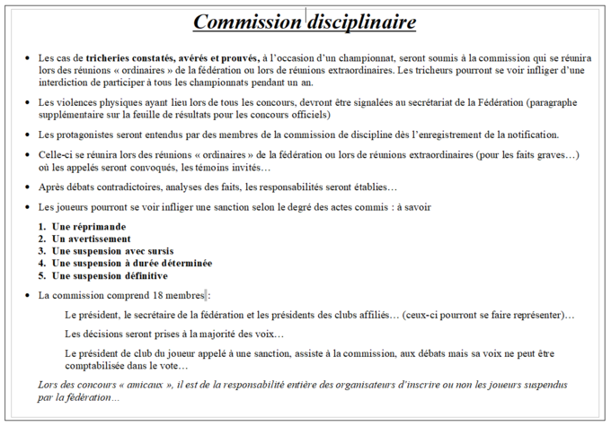 Commission disciplinaire