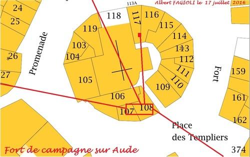 Le plan actualisé des emplacements des souterrains sous le Fort de Campagne sur Aude, 17 juillet 2016. (Albert Fagioli)
