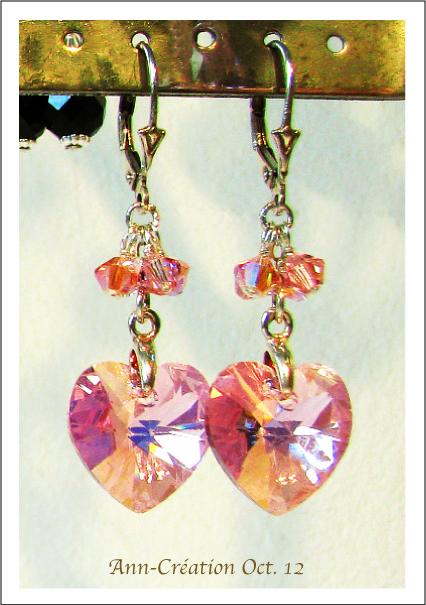 Boucles Dormeuses Coeurs Cristal de Swarovski Rose AB / Argent 925
