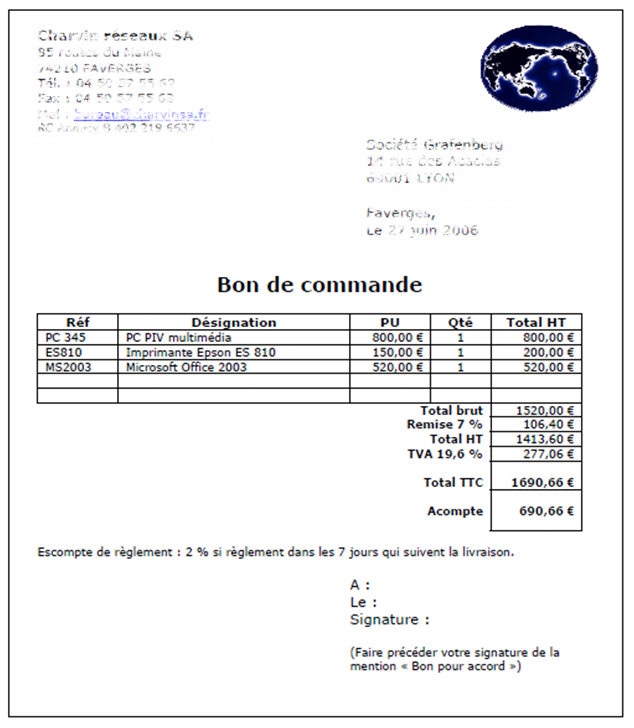 Les documents commerciaux