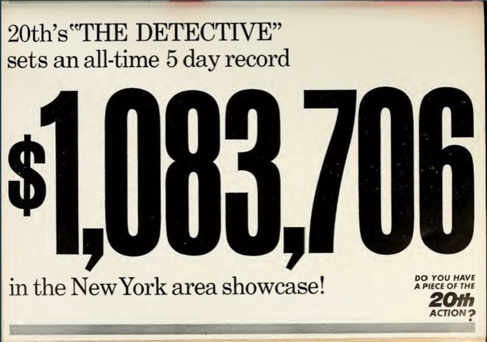 THE DETECTIVE BOX OFFICE USA 1968