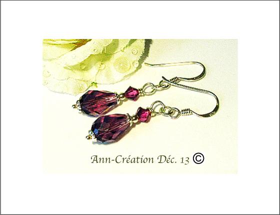 Boucles Dormeuses Prune Cristal de Swarovski - Argent 925 / Purple Swarovski Crystal earrings Sterling Silver