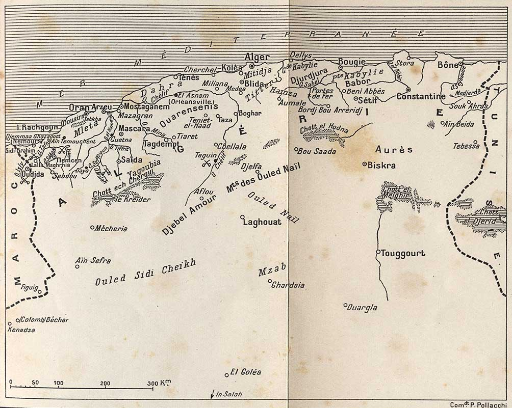 Carte d'Algérie période avant Bugeaud