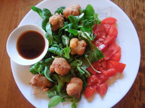 accras potiron / crevettes et leur sauce aigre douce