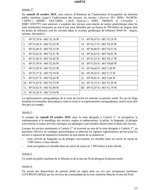 Projet FAB, Arrêté Préfectoral n°98/2015