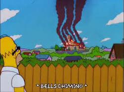 simpsons maison qui brûle au loin