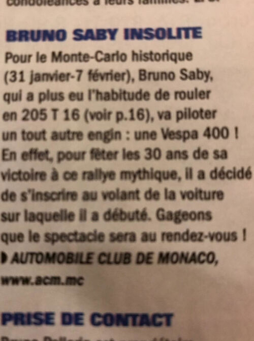 2017/18: Bruno Saby pilote la Vespa 400 au Monté Carlo