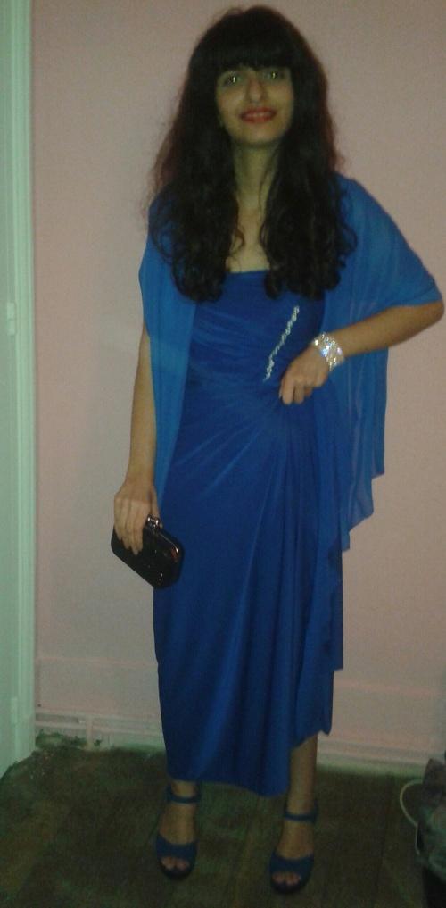 Robe de coktail bleu électrique