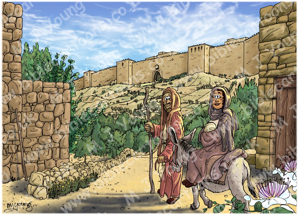 Luke 02 - Prophecies about Jesus - Scene 01 - To Jerusalem 980x706px col